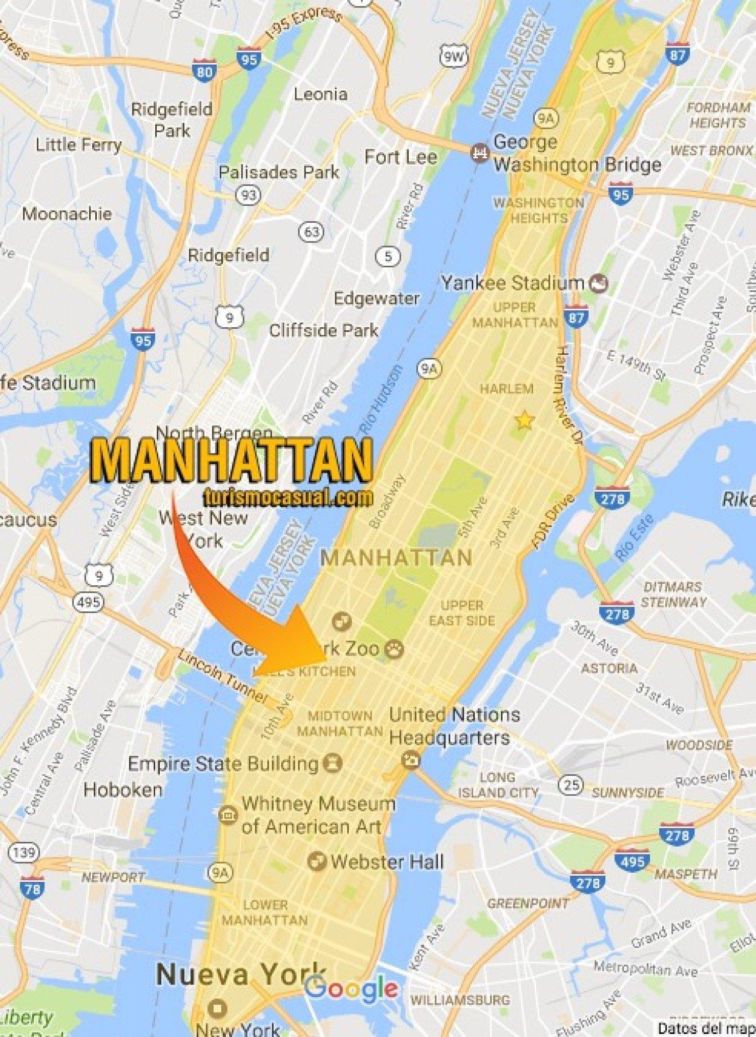 mapa de manhattan ny