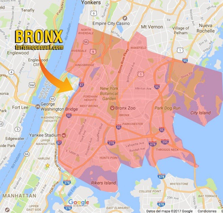 mapa del bronx ny